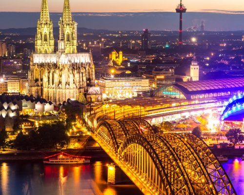 Cologne Cathedral aerial view, Cologne, Germany
