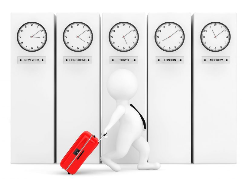 3d Person with Suitcase in front of Columns with Time Zone Clocks showing different time
